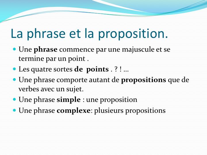 La phrase et la proposition